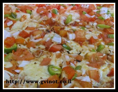 פיצה עגבניות ופלפלים